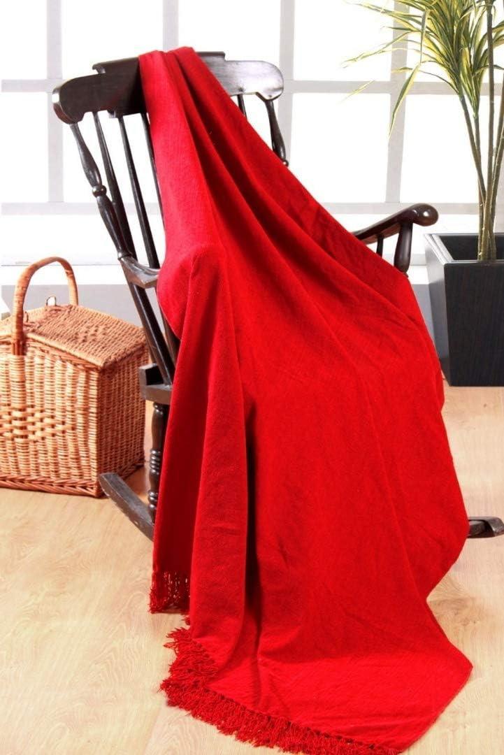 Coperta di ciniglia Colore: Rosso 100/% Poliestere EliteHomeCollection 225 x 250 cm per divani a 3 posti o Letti matrimoniali