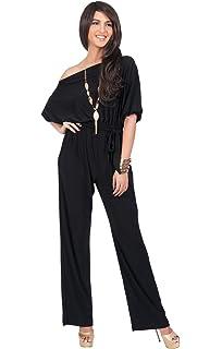 KOH KOH Womens One Off Shoulder Short Sleeve Piece Jumpsuit Pant Suit Romper 7c43f167d