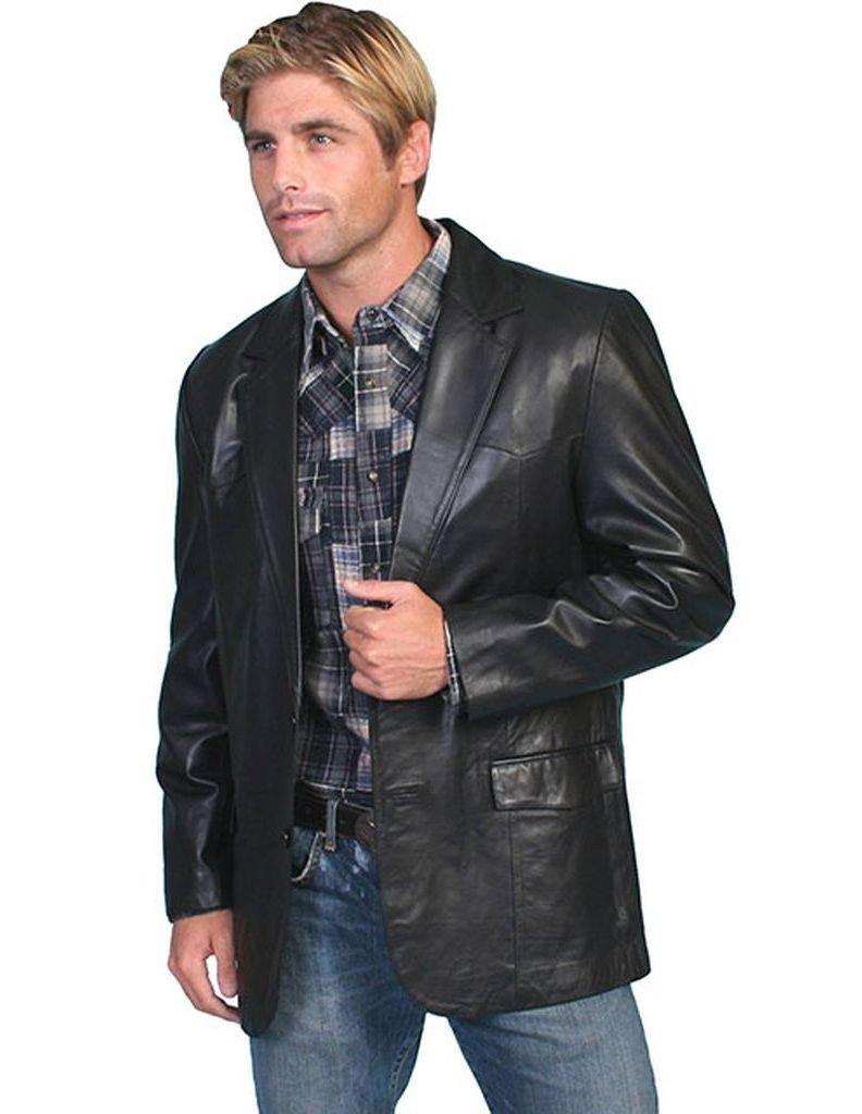 Scully Men's Lamb Leather Blazer Big Black 50 reg