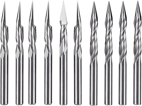 5x 1//8/'/' 2 Two Straight Flute Engraving Pyramid CNC Bit Router Endmill 30° 0.2mm