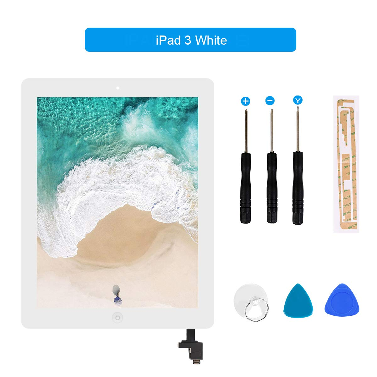 for iPad 3 Touch Screen Digitizer/Front Glass Screen Replacement(Include Home Button) & Tool Kit-White 9.7 Inch