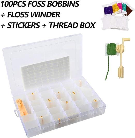 Caja organizadora de hilo de bordar, 100 unidades, plástico bordado, caja de 36 hilos + enrollador de hilo de hilo + 256 puntos en blanco pegatinas para manualidades DIY almacenamiento de costura: Amazon.es: Hogar