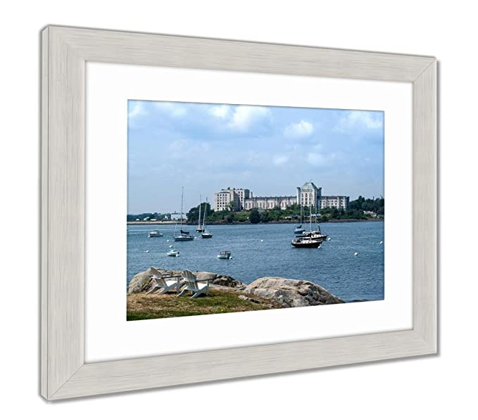 Amazon.com: Ashley Framed Prints Scenic View of Casco Bay and Fort Gorges Building, Wall Art Home Decoration, Sepia, 26x30 (Frame Size), Silver Frame, ...