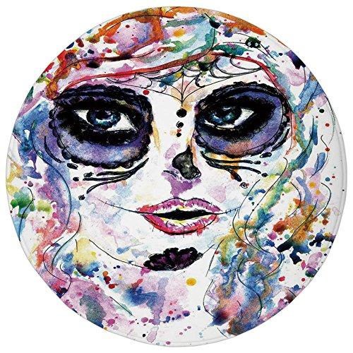 Round Rug Mat Carpet,Sugar Skull Decor,Halloween Girl with Sugar Skull Makeup Watercolor Painting Style Creepy Decorative,Multicolor,Flannel Microfiber Non-slip Soft Absorbent,for Kitchen Floor Bathro