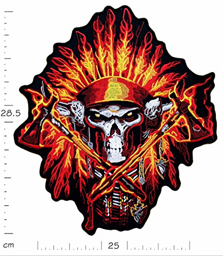 Big XL Iron on Patch - Skull Native American Biker - 11.2 x 9.8 inches - Embroidered Sew on Patches Embroidery Applications Applique Patches for Clothing Jacket Jeans - Treasure-Quest