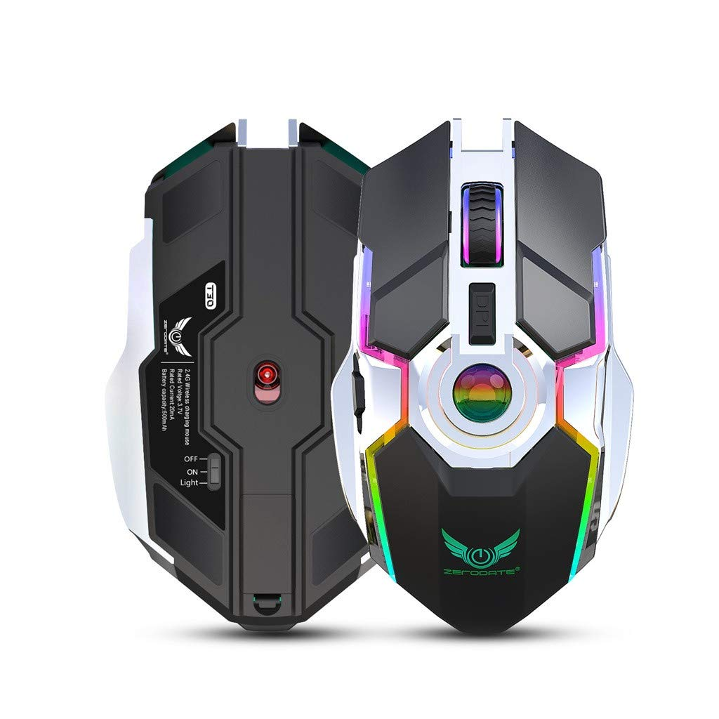 Ergonomic Design AcisuHu RBG Lamp Gaming Wireless Mouse, 4-Button Colorful Breathing Light for Gamer Laptops Game Mice 800//1600//2400dpi Rechargeable