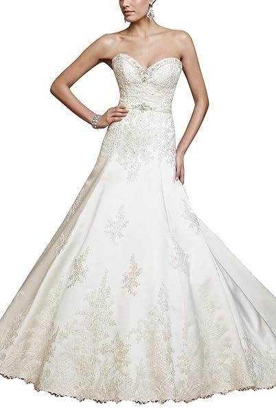 George Bride Luxur ioese satén Tribunal Vestidos de novia Vestidos de Boda: Amazon.es: Ropa y accesorios