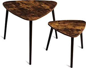 TianLang Nesting Coffee Table,Set of 2 Industrial End Table,Retro Style Side Table ,Stable Wooden Legs,Multi-Functional Table for Living Room,Bedroom,Office Retro Brown LJET007F