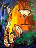 SAXOPHONE Art for Sale By Artist Mark Kazav Ready to Display Palette Knife Texture Impressionist Fine Art Gallery Red Blue Black Green Earthy Wall Decor