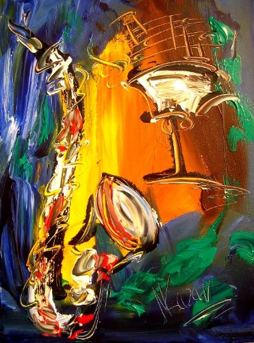 SAXOPHONE Art for Sale By Artist Mark Kazav Ready to Display Palette Knife Texture Impressionist Fine Art Gallery Red Blue Black Green Earthy Wall Decor by Mark Kazav - Artist to Collect Now