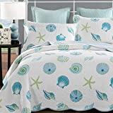 Newrara Beach Bedding Quilt Seashell and Beach Theme Bedspread Reversible 3pcs 100% Cotton Patchwork Quilt Set Bedspread Queen (White)