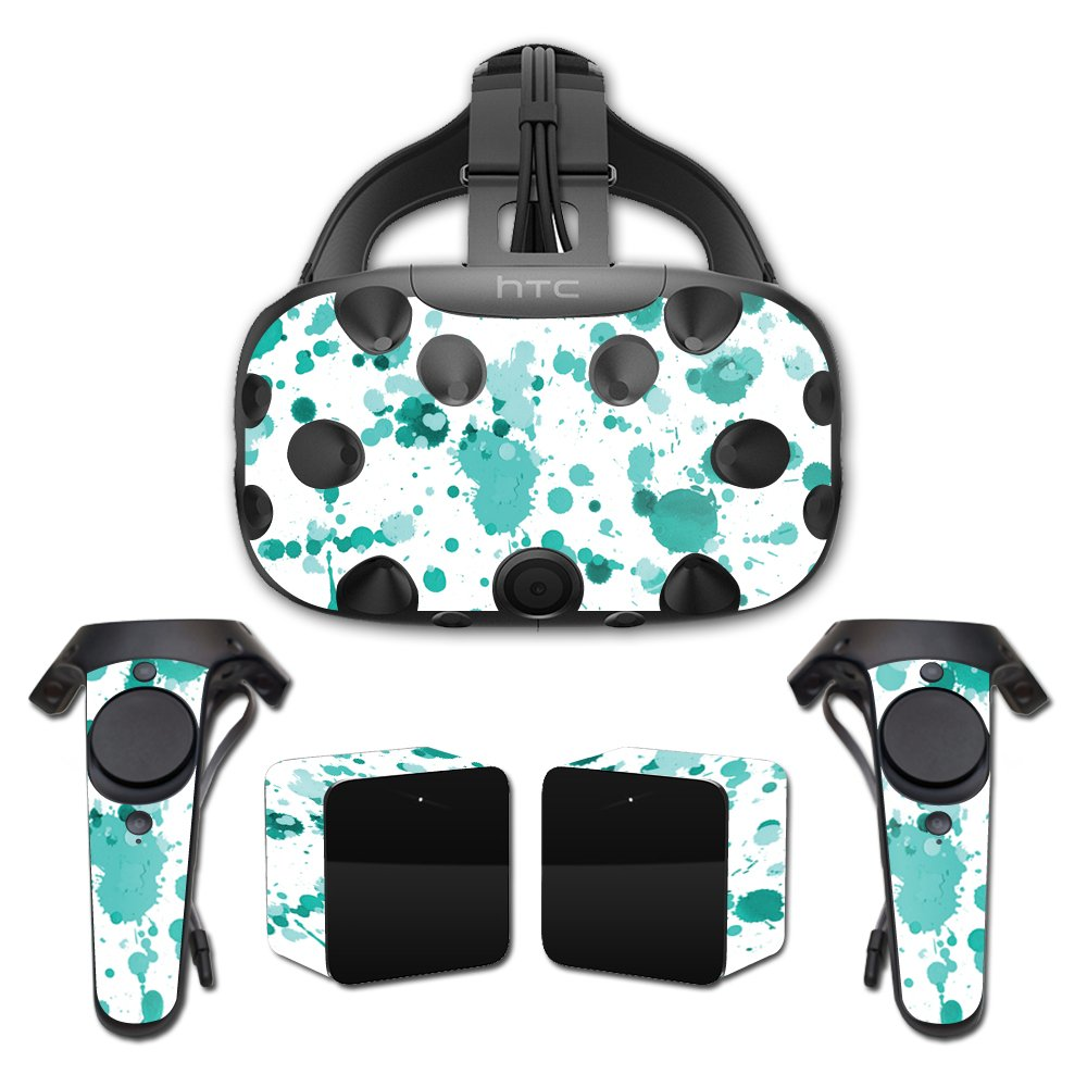 MightySkins Skin For HTC Vive Full Coverage - Teal Splatter | Protective, Durable, and Unique Vinyl Decal wrap cover | Easy To Apply, Remove, and Change Styles | Made in the USA