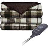 Sunbeam Microplush Comfy Toes Electric Heated Throw Blanket w Foot Pocket Allister Plaid
