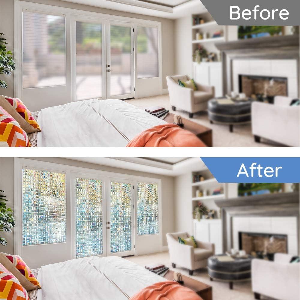 LUTE Rainbow Window Film Rainbow wiindow Film, 23.6 x 78.7 3D Decorative Window Vinyl Stained Glass Window Decals 60 x 200 cm Static Cling Window Sticker Removable Non-Adhesive UV Blocking