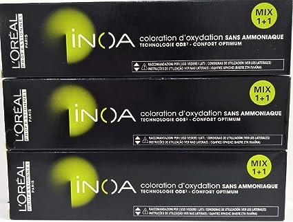 3 x LOreal Profesional Inoa sin amoniaco N° 6,34 rubio ...