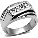 YourJewelleryBox TK596pn MENS 4 STONE MANS SIGNET PINKY RING BAND MANS STAINLESS STEEL 316L
