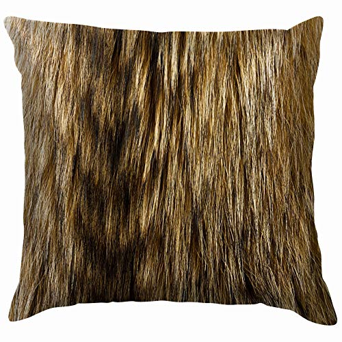 Raccoon Dog Fur Useful Texture Animal Throw Pillow Case Cushion Cover Pillowcase Watercolor for Couch 16X16 Inch