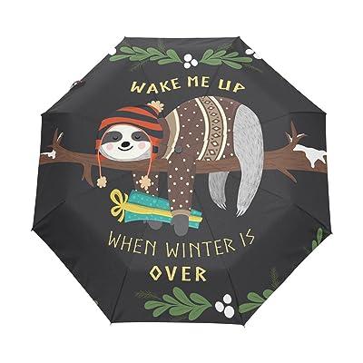 ALAZA Funny Sloth Wake Me Up Quote Winter 3 Folds Auto Open Close Anti-UV Umbrella