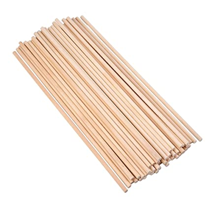 Eboot Unfinished Natural Wood Craft Dowel Rods 12 Inch X 1 4 Inch 50 Pack