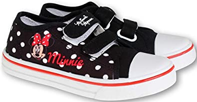 Minnie Mouse Fille Chaussures Baskets Fermeture Scratch Noir