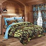 20 Lakes Neon Green Lime & Powder Blue Camo Comforter, Sheet, Pillowcase Set (Queen, Neon Green - Powder Blue)