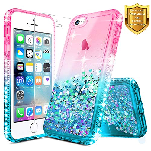 iPhone 5S Case, iPhone 5 / iPhone SE Case w/[Screen Protector Premium Clear], NageBee Glitter Liquid Quicksand Waterfall Floating Flowing Sparkle Shiny Bling Diamond Girls Cute Case -Pink/Aqua