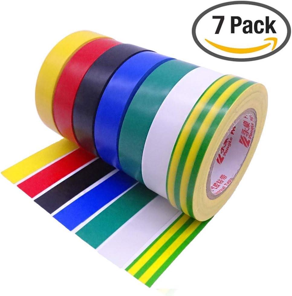 SACONELL Cinta aislante 7 unidades de cinta adhesiva eléctrica de PVC de 0.6 pulgadas 15 m 50 pies: Amazon.es: Bricolaje y herramientas