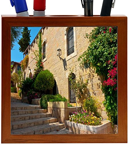 Rikki Knight Stone Steps in Jerusalem Design 5-Inch Wooden Tile Pen Holder (RK-PH8940) (Pen Holder Pencil Tile)