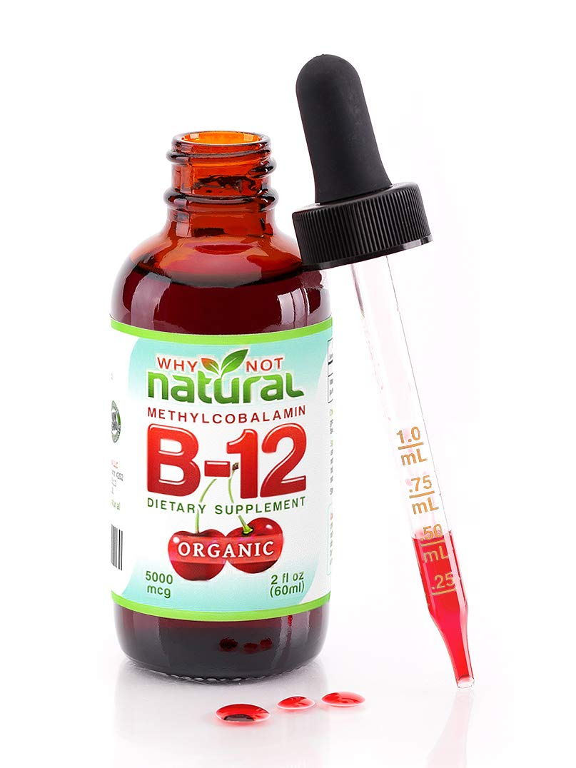 Organic Vitamin B12 - Extra Strength 60 x 5000mcg Liquid Drops (Methylcobalamin), w/Natural Cherry Flavor | Designed to Maximize Absorption & Energy | Vegan, Gluten & GMO-Free