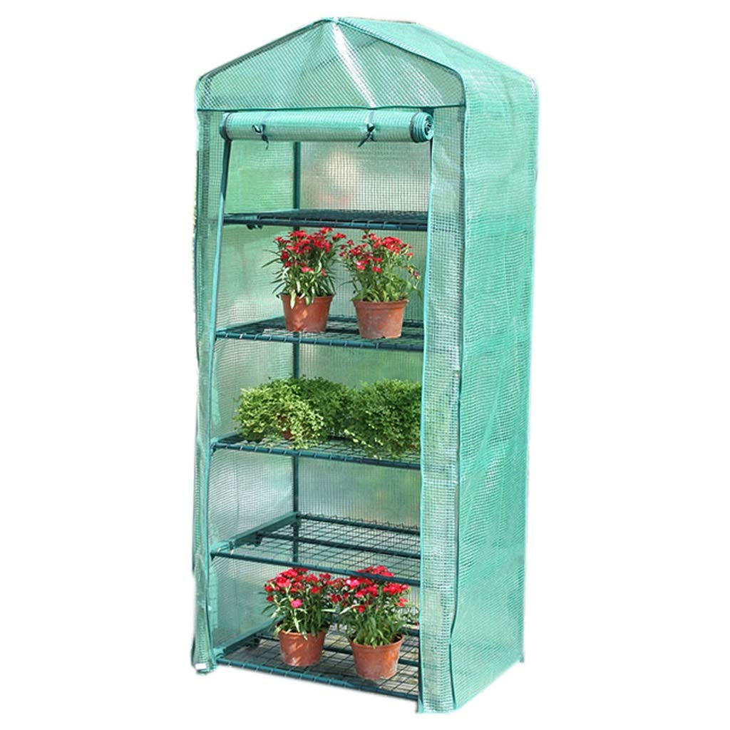 5 tier ZAQ Miniature Greenhouse  Garden Grow Plants Grow House with Roll up Door & Reinforced PE Cover for Temperature Control, 3 4 5 Tier (Size   3 tier)