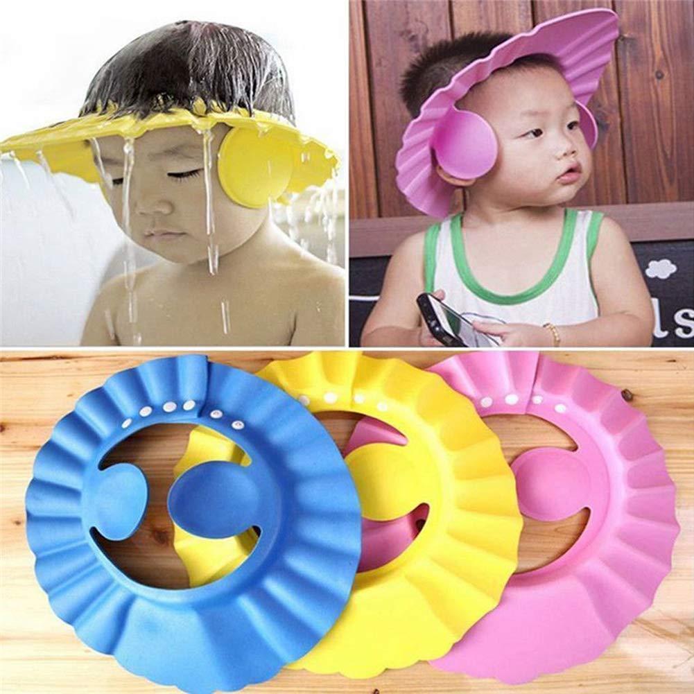 Baby Kids Shower Cap Adjustable Soft Shampoo Bath Hat Wash Hair Eye Shield QP