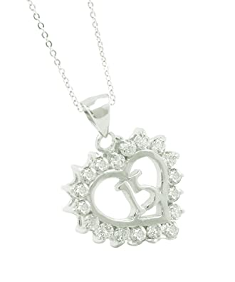amazon com solid sterling silver quinceanera gift crystal heart
