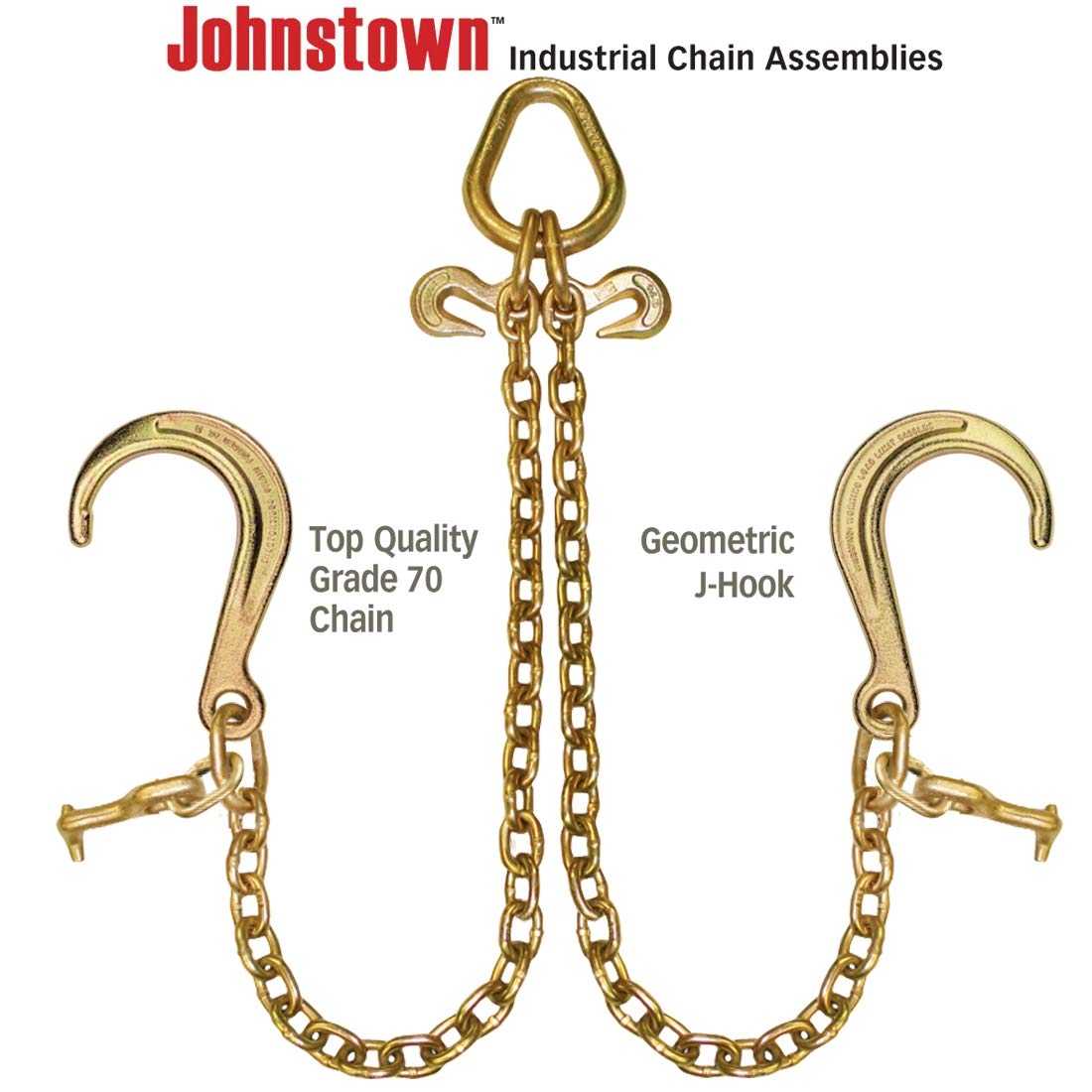 4,700 Pound Safe Working Load 40 Inch VULCAN Johnstown Grade 70 Towing Chain Bridle with 8 Inch J Hooks and Alloy T Hooks