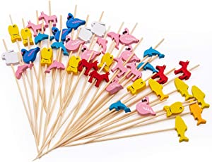 MMTX Cocktail Picks 200pcs 4.72inch Handmade Assorted Fruits Bamboo Toothpicks for Party Drink Fruit Dessert Food Appetizers Decoration-Animal