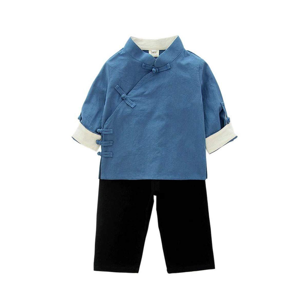 WenWen Little Boys Girls Button End Shirt Pants Set Tang Suit