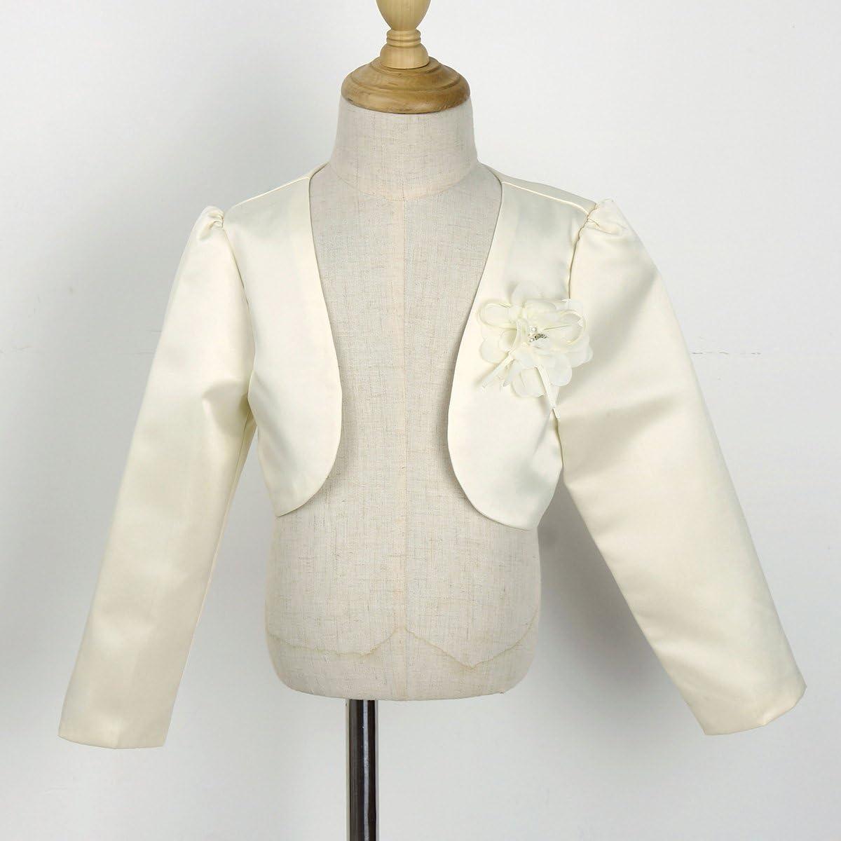 YOOJIA Kids Baby Flower Girl Long Sleeves Bolero Cardigan Shrug Jacket Bridesmaid Party Formal Dress Cover Up