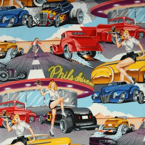 Alexander Henry Phil's Drive-In Bright, 44-inch (112cm) Wide Cotton Fabric Yardage (Cotton Fabric Print Novelty)