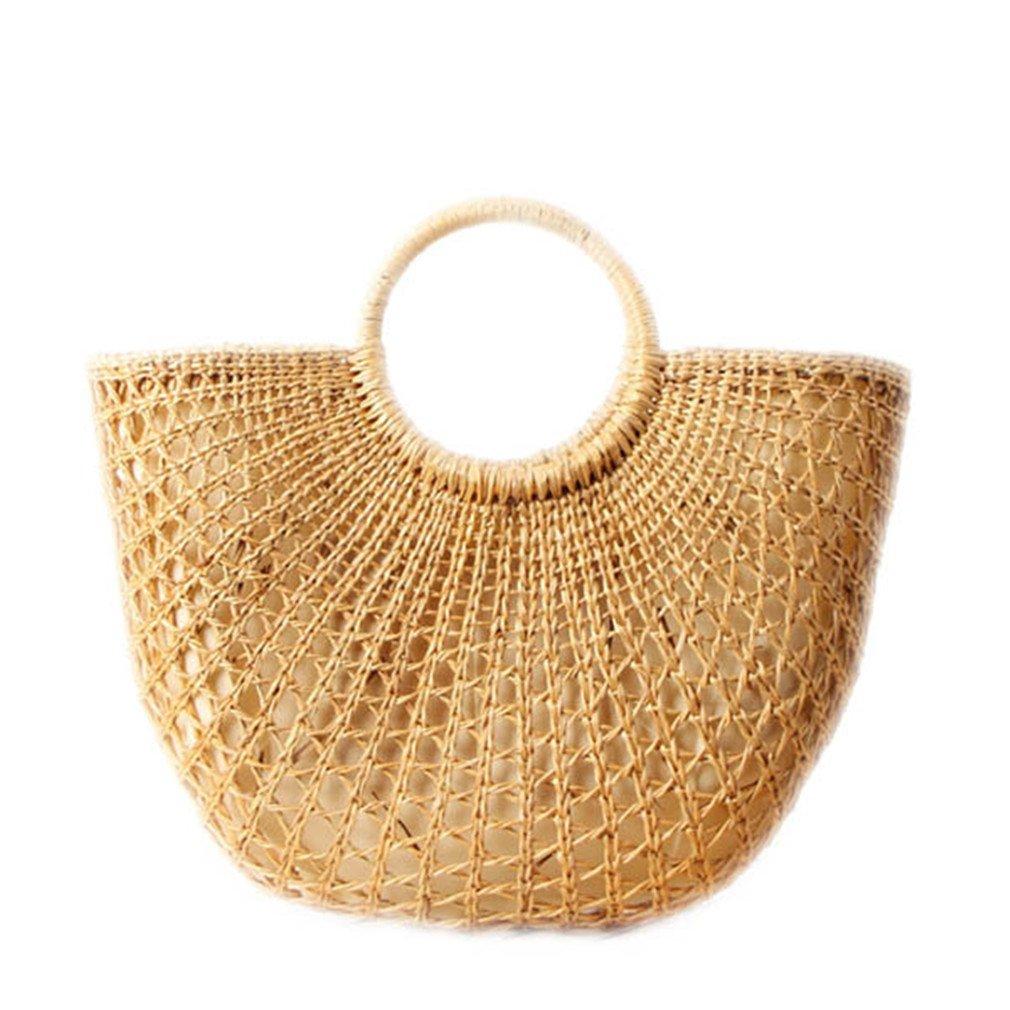 WIEJDHJ Woven Semicircle Straw Hollow Bags Beach Handbag Women Hairball Round Rattan Bag Casual Tote Lady