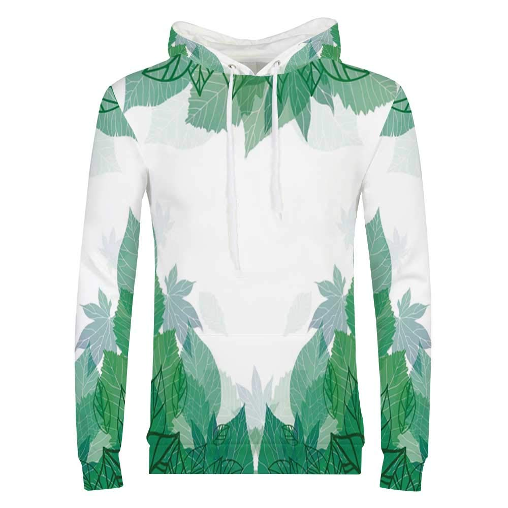 Mint Sweatshirt,Floral Simplistic Pattern with Mixed Leaves Botanical Beauty Nature Illustration Hooded for Men /& Boys,Small