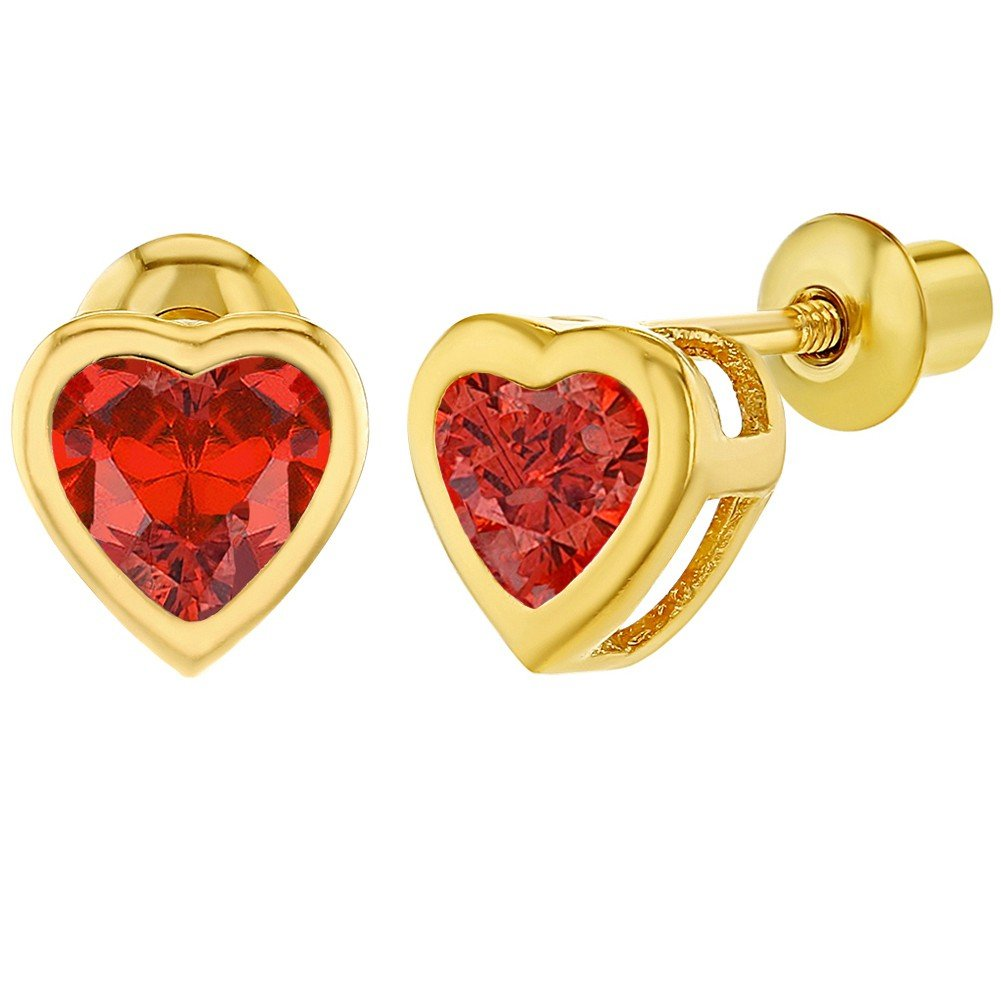 18k Gold Plated Red Crystal Heart Girls Kids Screw Back Earrings In Season Jewelry 03-0640-A