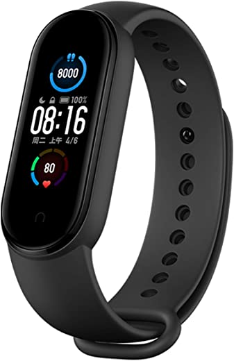 "Xiaomi Mi Band 5 Smart Band Bracelet Magnetic Charge 4 Color 1.1 "" Touch Screen Fitness Tracker 24h Heart Rate Sleep REM Nap Step Swim Sport Monitor 5ATM Waterproof Miband 5 Standard Version(Black)"