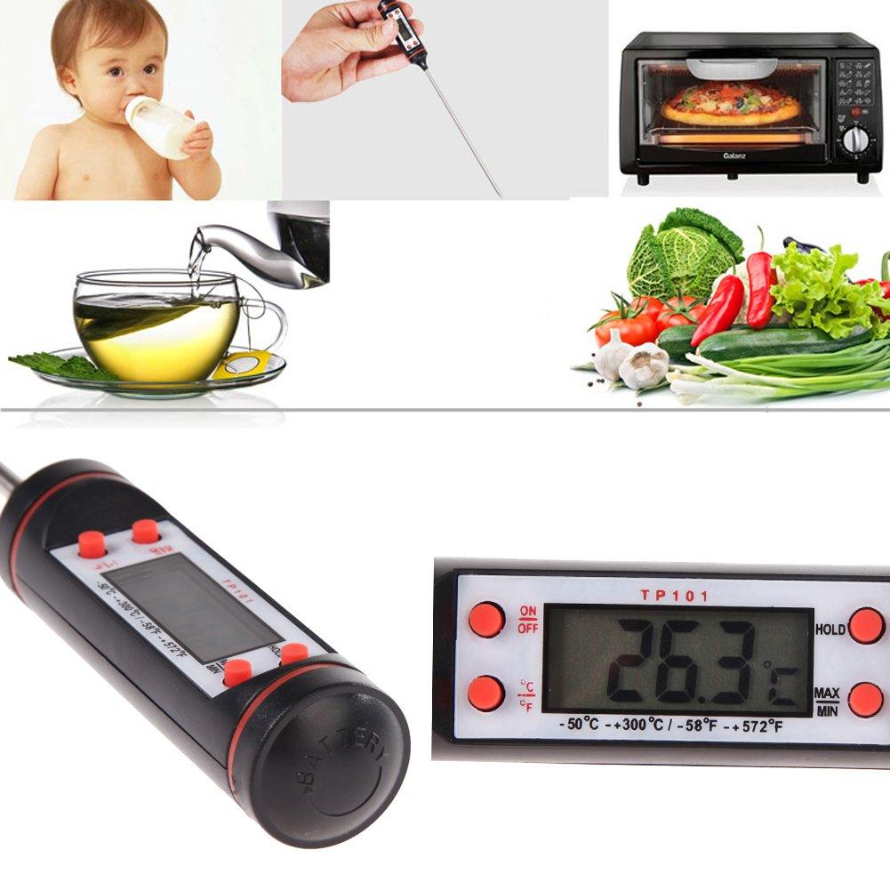Termómetro digital de cocina / BBQTermómetro de mediciòn para hornear / Termómetro de alimentos / Termómetro para leche en polvo, BBQ, horno: Amazon.es: ...