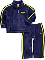 Puma Infant Boys 2 Piece Blue Green Striped Velor Jacket & Pants Set