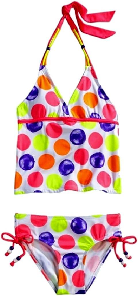 Justice for Girls Neon Polka Dot Halter Tankini Size 10