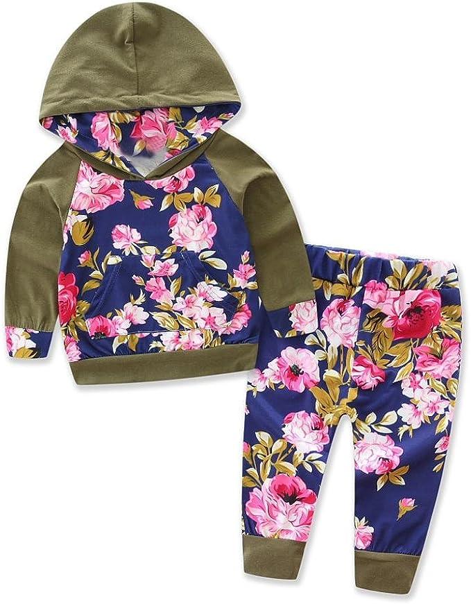 Hosen Outfit Set Zweiteilige Kapuzenpullover Bekleidungssets Kinder Kleidung Set Junge M/ädchen Langarm Trainingsanzug Drucken Pullover mit Kapuzen Tops