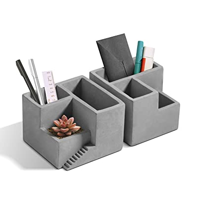 T4U Cement Succulent Planter, Small Concrete Pot Herb Cactus Pen Pencil Holder with Compartments Flower Planter Container Desktop Organizer for Home Office Decoration Set of 2 : Garden & Outdoor