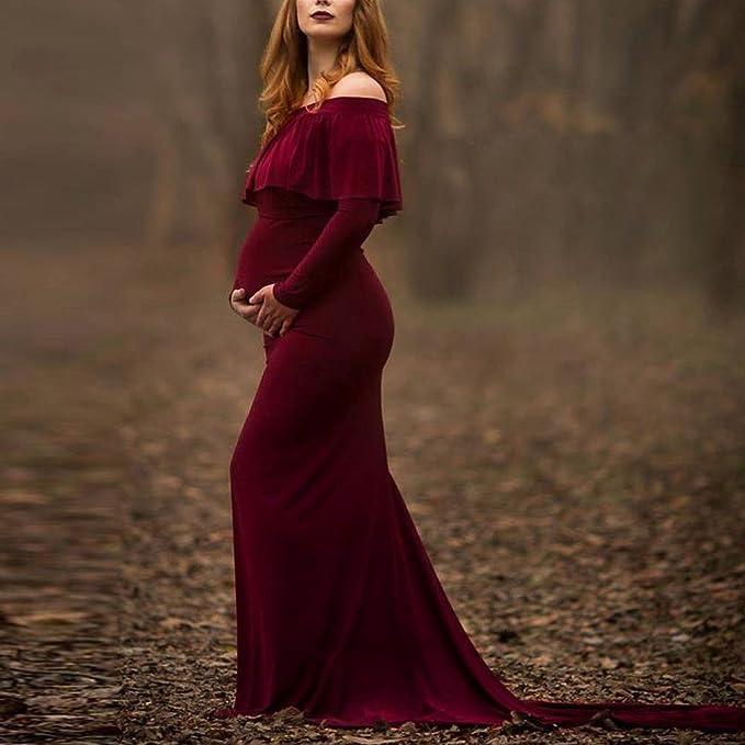 ropa embarazada fotografia, Sannysis vestidos de fiesta mujer largos de enfermería con volantes y hombros