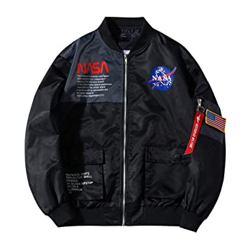 ZGDGG Chaqueta de Bombardero para Hombres NASA MA-1 Military ...