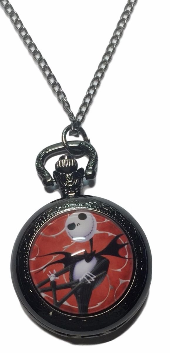 Nightmare Before Christmas Jack Skellington Glass Dome Pendant Pocket Watch