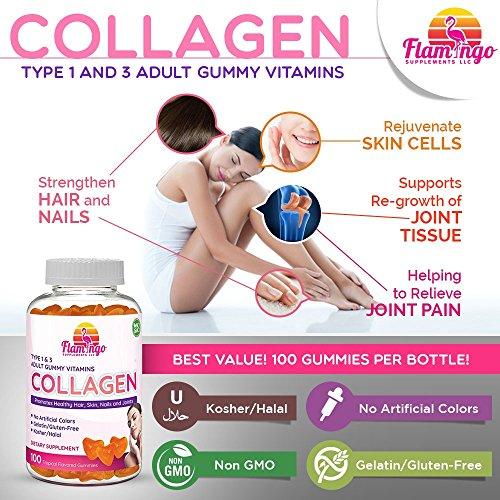 61ZpxKAGHNL - Flamingo Supplements - Hydrolyzed Collagen Gummies Type I & III | Kosher & Halal, No Gelatin, Non GMO | Strengthen Hair, Skin, Nails & Joint Care | Tropical Flavor | 100 Count
